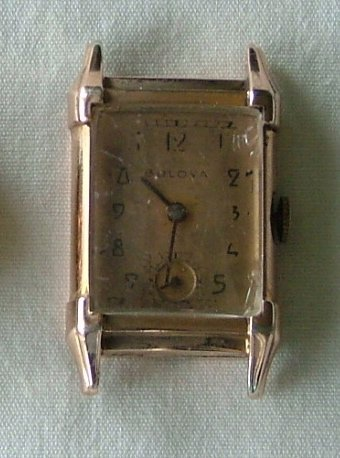 Bulova Men's Watch in Rose Gold with Pink Baton Hands & Arabic Numerals c.1940