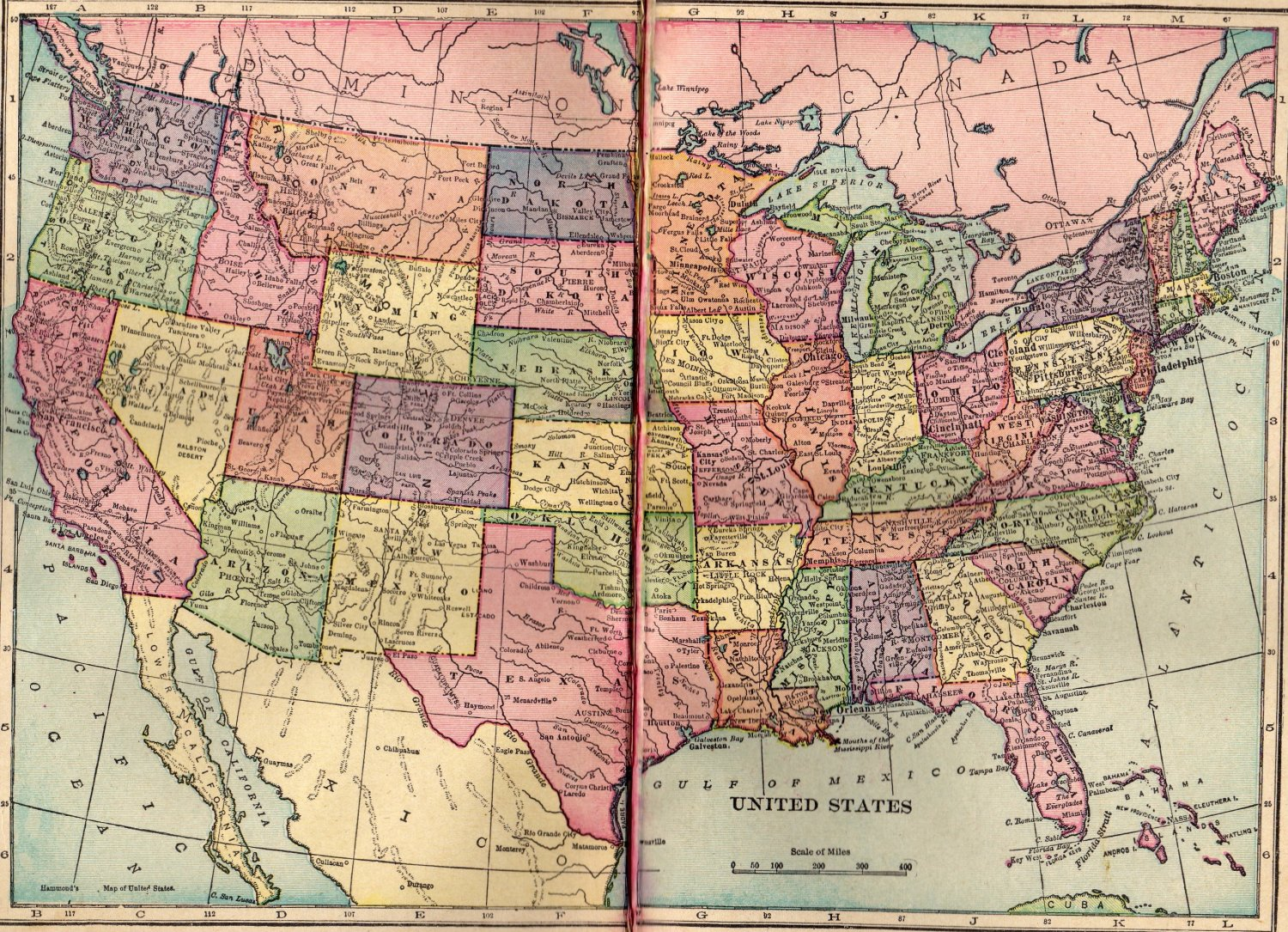 Map of The United States, C.S. Hammond & Co. Atlas, Full Color, Two