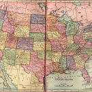 Antique Map of The United States, C.S. Hammond & Co. Atlas, Full Color, Two Pages c.1910