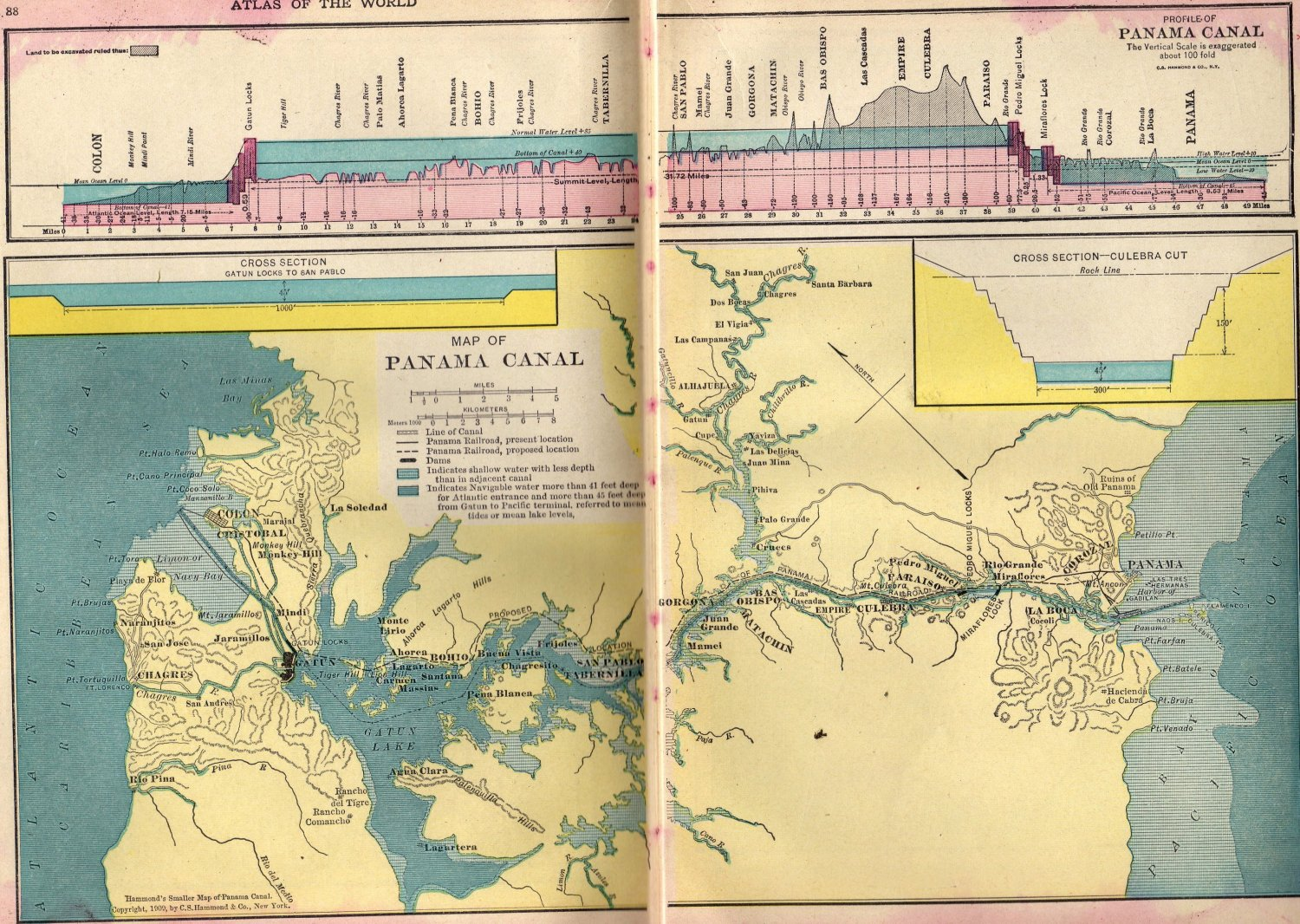 Map of The Panama Canal, C.S. Hammond & Co. Atlas, Full Color, Two Pages c.1910