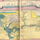 Antique Map of The Panama Canal, C.S. Hammond & Co. Atlas, Full Color, Two Pages c.1910