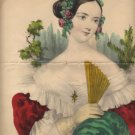 Nathaniel Currier Lithograph, Caroline, Hand Colored, Red and Green c.1880