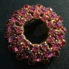Pink & Red Rhinestone Circle Brooch with Earrings c.1950