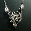 Am Lee Necklace, Sterling Silver Filigree & Rhinestones c.1950