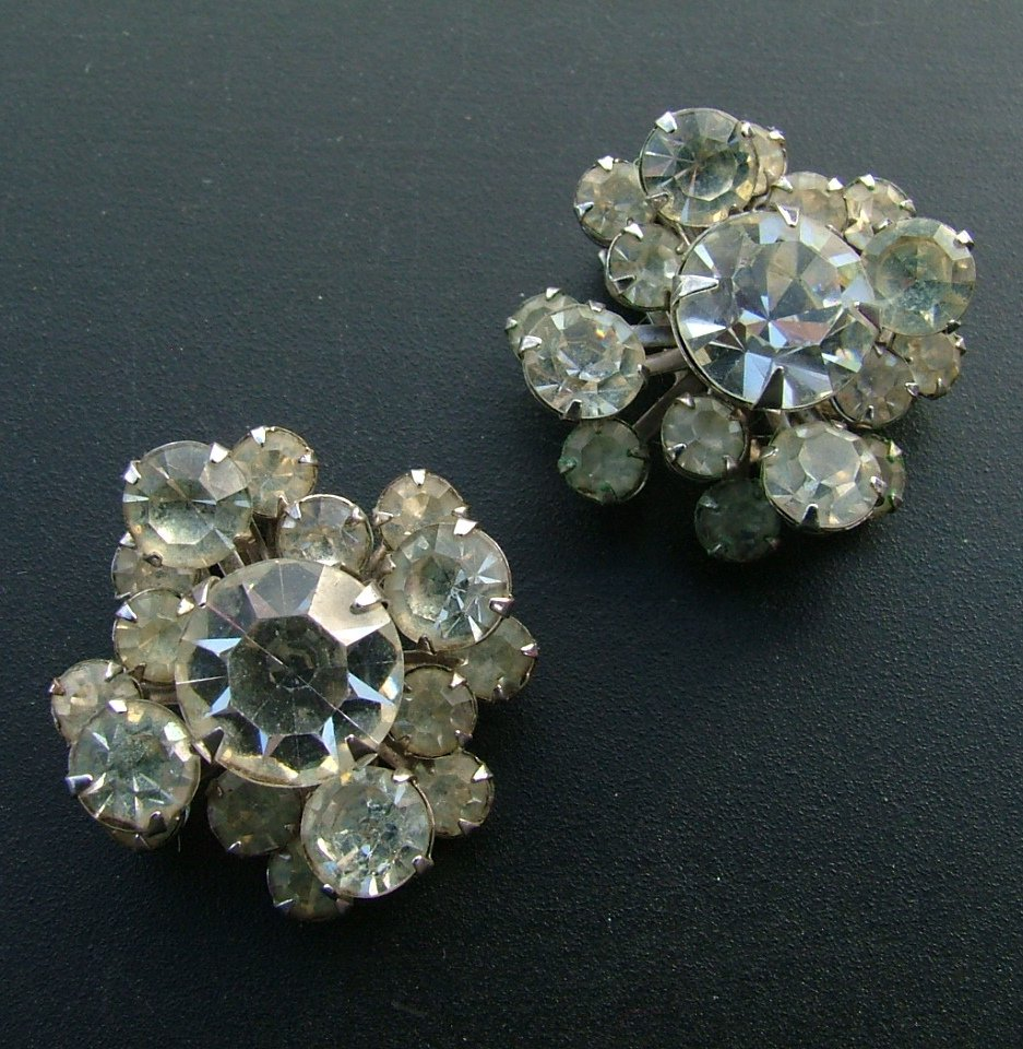 Rhinestone Clip Earrings, Clustered Stones, Various Sizes c.1949