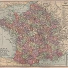 Map of France, C.S. Hammond & Co. Atlas, Full Color c.1910