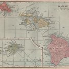 Antique Map of Hawaii, C.S. Hammond & Co. Atlas, Full Color c.1910