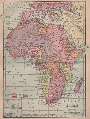 Antique Map of Africa, Full Color, C.S. Hammond & Co. Atlas c.1910