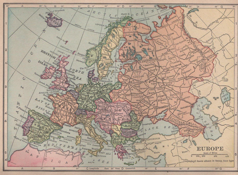 Map of Europe, C.S. Hammond & Co. Atlas, Full Color c.1910