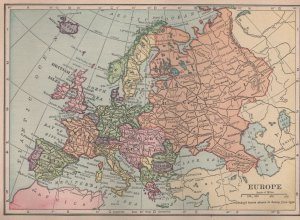 Antique Map of Europe, Full Color, C.S. Hammond &amp; Co. Atlas c.1910
