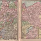 Antique Maps of East and West Germany, C.S. Hammond & Co. Atlas, Two Pages, Full Color c.1910