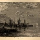 Edmund J. Niemann, Scarborough at Sunset, Antique Art Journal Print c.1876