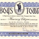 Boys Town Honorary Citizen Certificate, Father Flanagan's Boys' Home c.1966