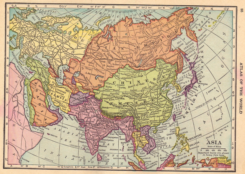 Map of Asia Full Color CS Hammond Atlas c1910 – Full Map of Asia