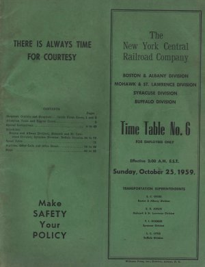 New York Central Railroad Co. Timetable No. 6, Employees Only c.1959