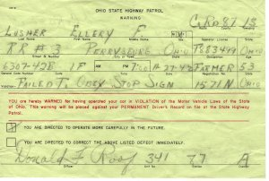 Ohio State Highway Patrol Warning Ticket, Failure to Stop c.1942