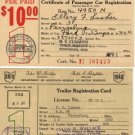 State of Ohio Car Registration Cards, Commercial & Passenger, 10 Total c.1939