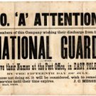 Civil War Notice Posted for Co. 'A' of National Guard, Toledo Ohio c.1866