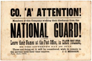 Antique Civil War Notice Posted for Co. 'A' of National Guard, Toledo Ohio c.1866