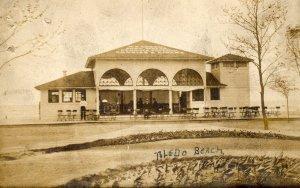 Toledo Ohio Postcard, Toledo Beach Concession Stand, Sepia Tone Real Photo c.1900