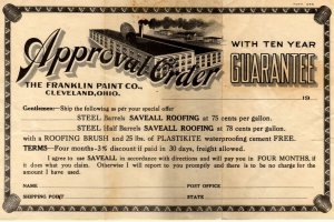 The Franklin Paint Co. of Cleveland Ohio Letterhead, Certificate & Envelope c.1922