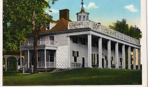Mount Vernon Virginia Postcard, View of Washington's Mansion c.1929