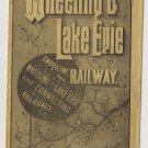 Antique Wheeling & Lake Erie Railway Timetable with Map c.1888