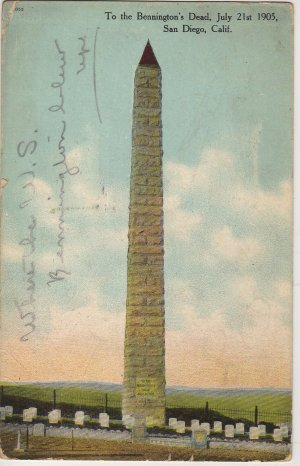 San Diego California Postcard, Monument To The U.S. Bennington's Dead c.1907