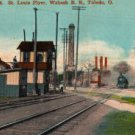 Toledo Ohio Postcard, St. Louis Flyer on Wabash Railroad near Water Works Complex c.1917