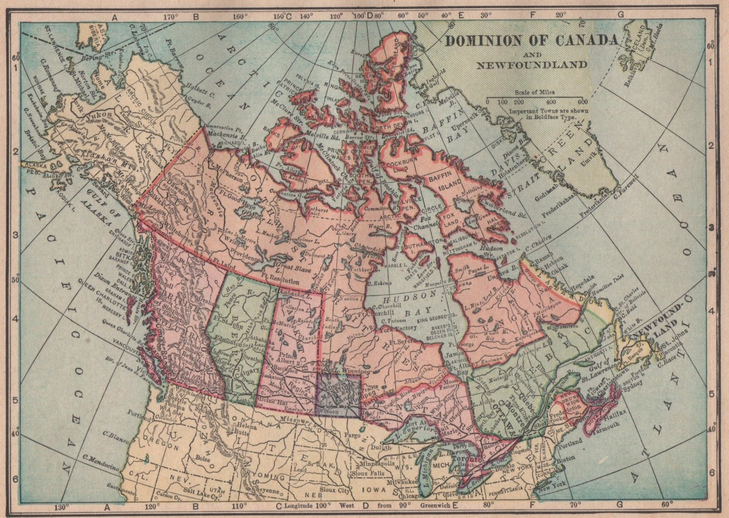 Map of The Dominion of Canada, C.S. Hammond Atlas, Full Color c.1910