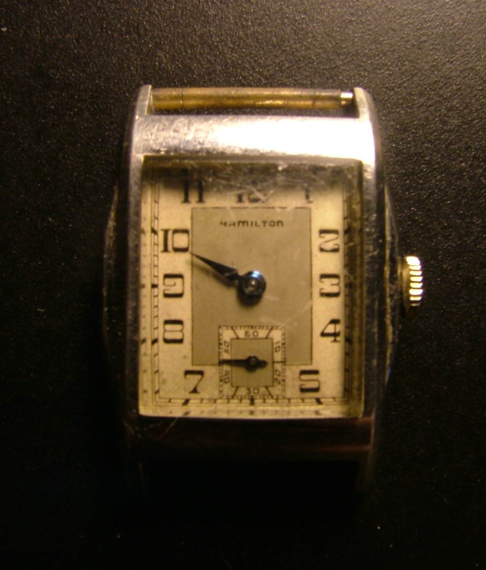 Hamilton Men's Watch, White Gold Filled, Square Dial with Blue Hands c.1933