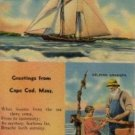 Cape Cod Massachusetts Postcard, Boats, Fishing Poles and Rev. Huse Poem c.1953