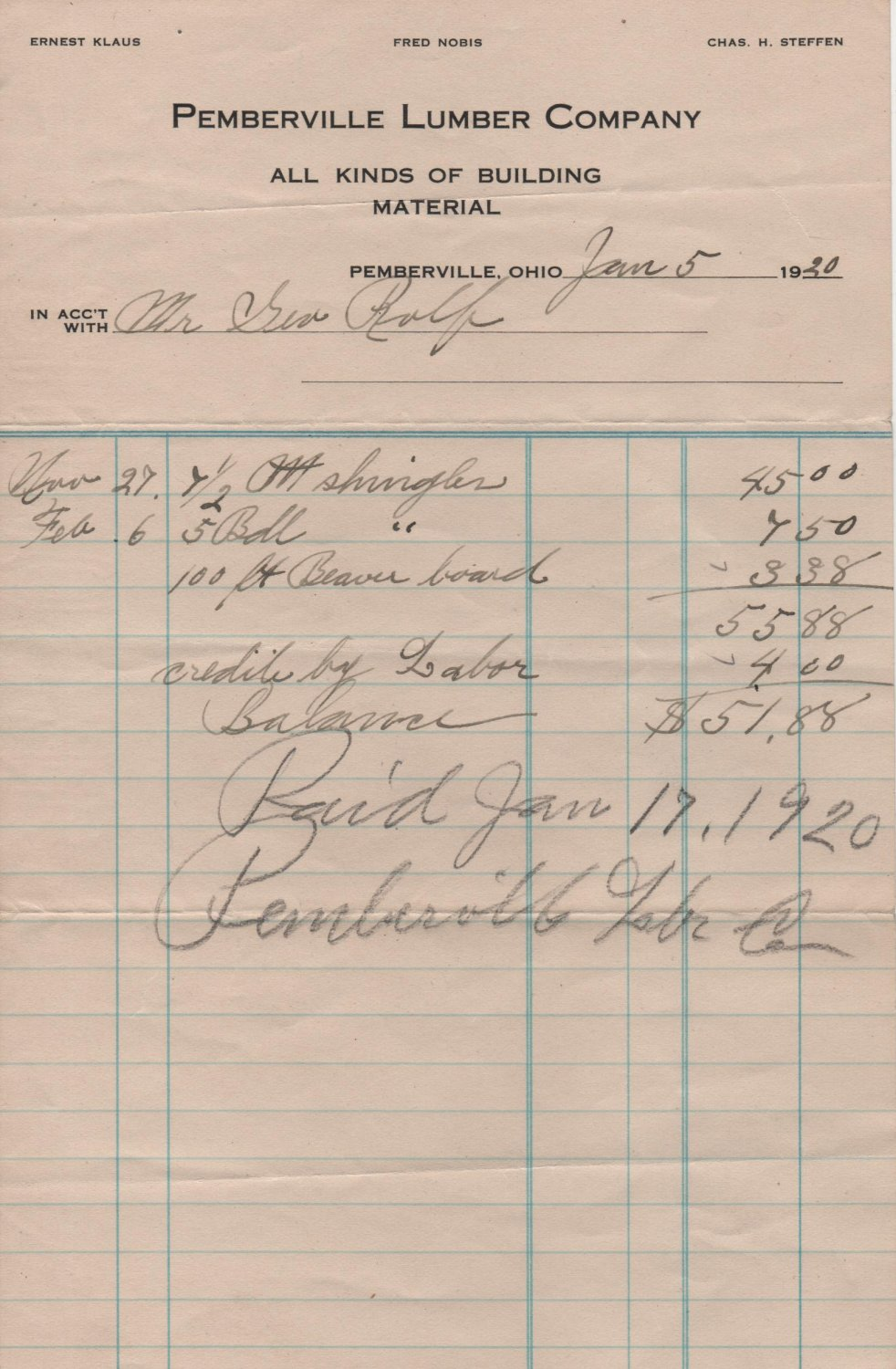 Pemberville Elevator & Lumber Company's Receipts and Envelope, Pemberville Ohio c.1920