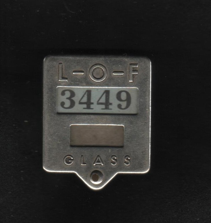 Libbey-Owens-Ford Glass Company Employee Identification Badge, No. 3449  c.1940