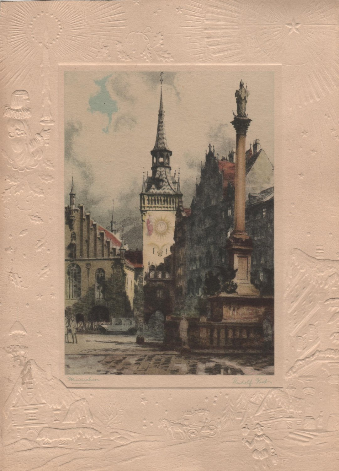 Munichen, Rudolf Voit Color Print with Embossed Border c.1919