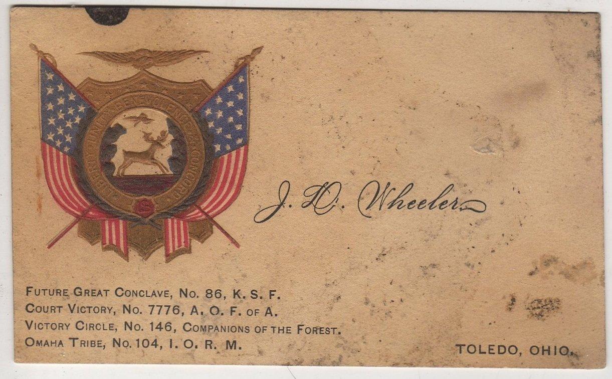 Calling Card, J.D. Wheeler, Member A.O.F. of A., Toledo Ohio c.1893