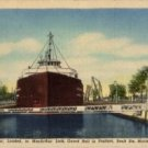 Sault Ste Marie Michigan Postcard, Freighter in MacArthur Lock c.1948