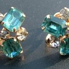 Aquamarine Rhinestone Earrings, Emerald Cut & Round c.1943