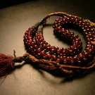 Cranberry Glass Bead Necklace, Clustered Strand, Silk Cord c.1900