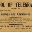 Oberlin School of Telegraphy for Railway & Commercial Service Ad Card c.1862