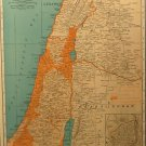 Vintage Map of Palestine, Rand McNally, Collier's World Atlas, Four Color c.1949