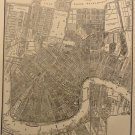 Vintage Map of New Orleans, W.M.E. Boesch, Collier's World Atlas, Black & White c.1949
