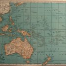 Map of Oceania, Islands of The Pacific, Rand McNally, Collier's World Atlas, Color c.1949