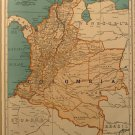 Vintage Map of Colombia, Rand McNally, Collier's World Atlas, Four Color c.1949