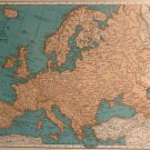 Vintage Map of Europe, Rand McNally, Collier&#39;s World Atlas, Four Color c.1949