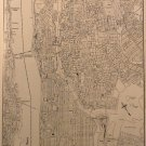 Maps of Upper & Lower Manhattan, Rand McNally & Co, Collier's World Atlas, Black & White c.1949