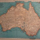 Map of Australia, Rand McNally, Collier's World Atlas, Four Color c.1949