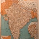 Map of India, Pakistan and Burma, Rand McNally, Collier's World Atlas, Four Color c.1949