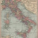 Map of Italy, C.S. Hammond & Co. Atlas, Full Color c.1910