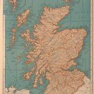 Vintage Map of Scotland, Rand McNally, Collier&#39;s World Atlas, Four Color c.1949